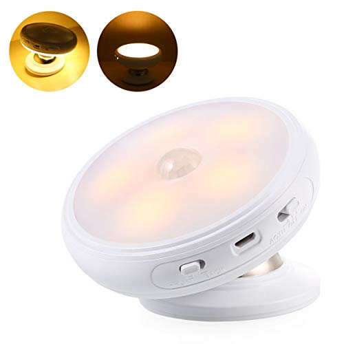Wireless Motion Sensor Night Light, 360 Degree Rotation Closet Lights Lamp, Stick-Anywhere Lights for Stairs Cabinet Hallway Garage Basement Bedroom Home