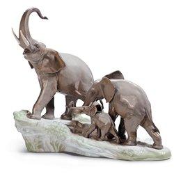 Lladro Porcelain Figurine Elephants - Elephant Lladro