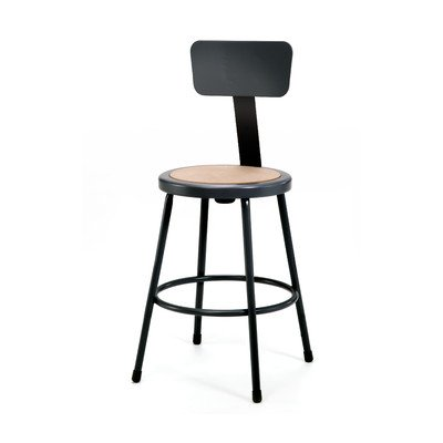 National Public Seating 6224B-10 24''Heavy Duty Steel Stool with Backrest, Black