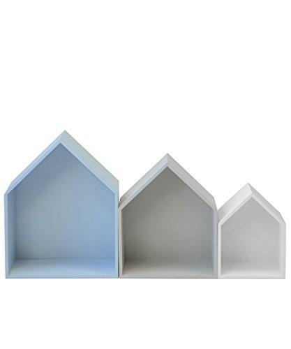 13Casa Maison B3 Set 3 Mensole, 37.5 x 29 x 12 H Cm, Grigio, Bianco, Azzurro, MDF F00640303007