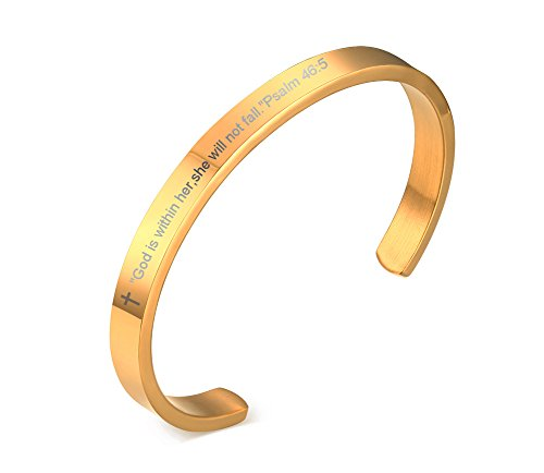 God is Within Her She Will Not Fall Psalm 46:5 Scripture Cuff Bangle Bracelet,Gold Plated Stainless Steel -