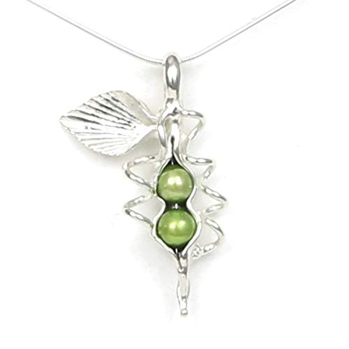 Sweet Pendant Pearl Pea (2 Pearl How Many Peas in Your Pod Sterling Silver Necklace Each Unique Handmade - Gift Boxed - Green Pearl 18