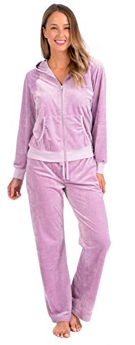 Pink Lady Womens Soft Velour Zip Hoodie and Bottoms Lounge Tracksuit (Mauve Mist, XL)