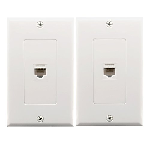 - 1Port Cat6 Wall Plate and Keystone,Yomyrayhu,RJ45 Jack Ethernet Connector,Female to Female(2Pack) (1Port)