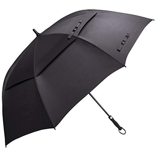 Prospo 68 Inch Automatic Open Golf Umbrella Double Canopy VentedExtra Large Oversize Umbrellas Windproof Waterproof Stick Umbrellas for Men Women(Dark)
