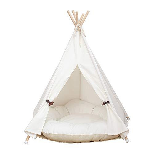little dove, Tienda de campaña para perro o mascota, extraíble y lavable, con colchón, color blanco (L)
