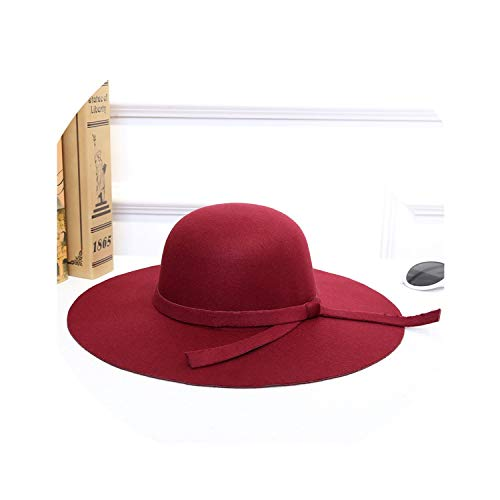 Women Fashion Classic Retro Jazz Warm Ladies Fedora Bucket Cotton Cute Sweet Caps Sun Hat,Burgundy