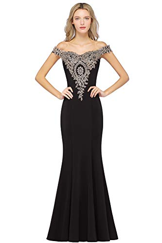 Women's Mermaid Long Black Evening Gowns Lace Appliques Wedding Dresses for Guests,Black,16