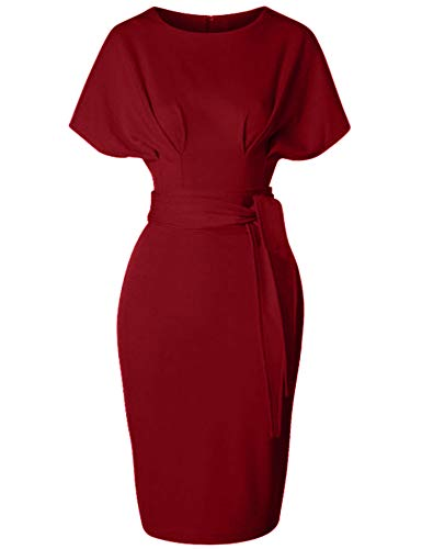 GownTown Women's 50s 60s Vintage Sexy Fitted Office Pencil Dress DarkRed (Sexy Fitted Dresses)