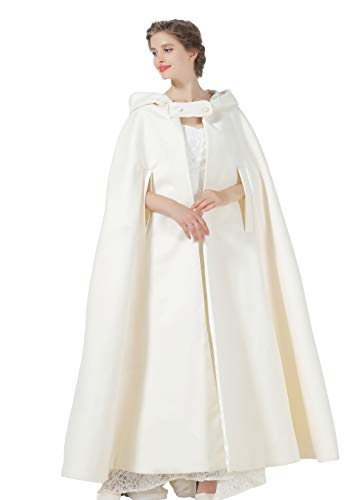 Hooded Cloak Wedding Cape for Women Bridal Winter Robe Wool Blend Full length Halloween Costume Christmas Ivory -