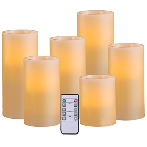 "AMAGIC Set of 6 Battery Operated Candles Ivory (H 4"" 5"" 6"" 7"" 8"" 9"" x D 3"")- Real Wax Flameless Candles Bulk Remote & Timer - Led Candles Flameless Pillar(AA Batteries not Included)"