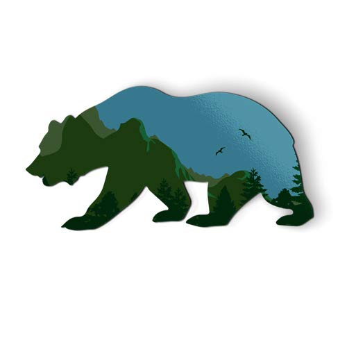 AK Wall Art Bear Shape Mountains Nature Green - Magnet - Car Fridge Locker - Select Size
