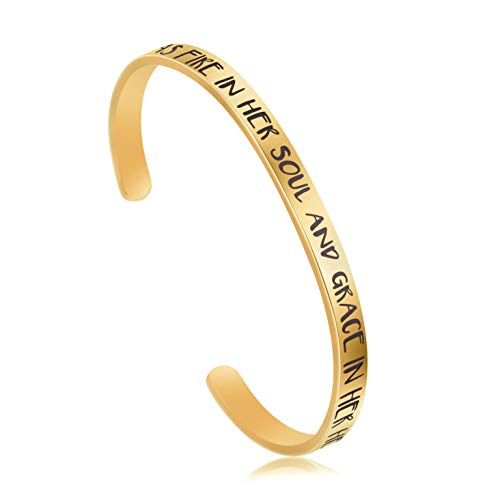 UNQJRY Inspirational Jewelry Gift for Girls 18K Real Gold Plated Open Cuff Bangle Bracelet