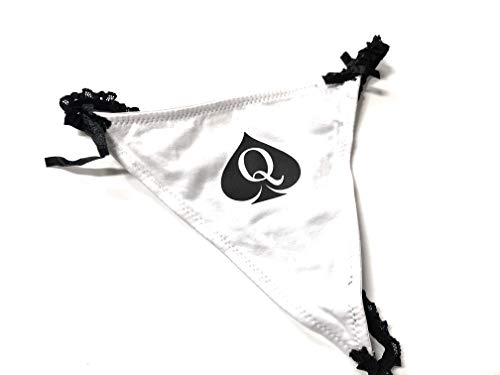 Black & White Lace Cotton Queen of Spades Logo - Fetish - Brazilian G-String Thong Tanga ()