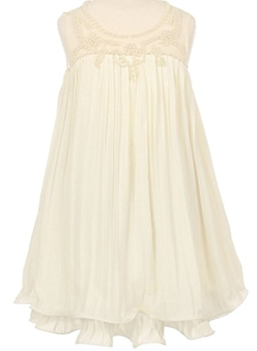 Chiffon Baby Doll Gown (Big Girls' Sleeveless Baby Doll Pearl Detailing Flowers Girls Dresses Ivory 10)