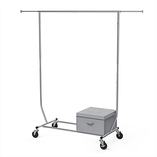 Heavy Duty Garment - Garment Rack Heavy Duty, Sable Commercial Grade Rolling Foldable Clothes Organizer, Adjustable with a Storage Box Hang up to 330lbs