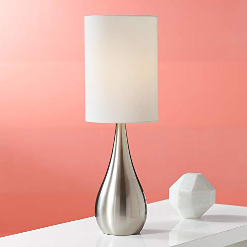 Modern Accent Table Lamp Brushed Steel Metal Teardrop White Cylinder Shade for Living Room Family Bedroom Office - 360 Lighting (Lamp Shade Inch 21)