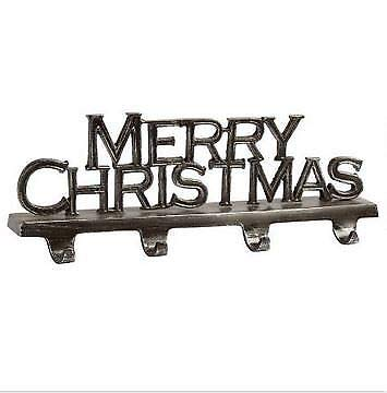 "4-hook ""Merry Christmas"" Sturdy Metal Christmas Stocking Holder"