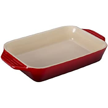 Le Creuset PG1047S-2667 Stoneware Rectangular Dish, 10.5 by 7-Inch, Cerise (Cherry Red)