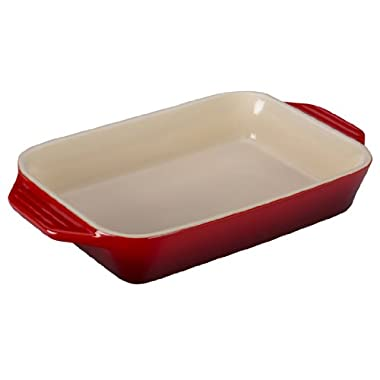 Le Creuset Stoneware Rectangular Dish, 10.5 by 7-Inch, Cerise (Cherry Red)
