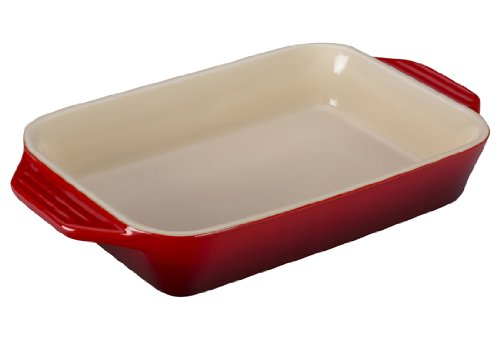 Le Creuset Stoneware Rectangular Dish, 10.5 by 7-Inch, Cerise (Cherry Red) ()