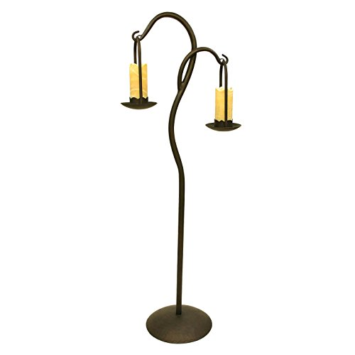 Double Wrought Iron Floor Lamp with Onyx Stone (Wrought Iron Onyx)