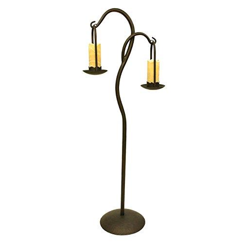 Double Wrought Iron Floor Lamp with Onyx Stone (Wrought Iron Onyx)