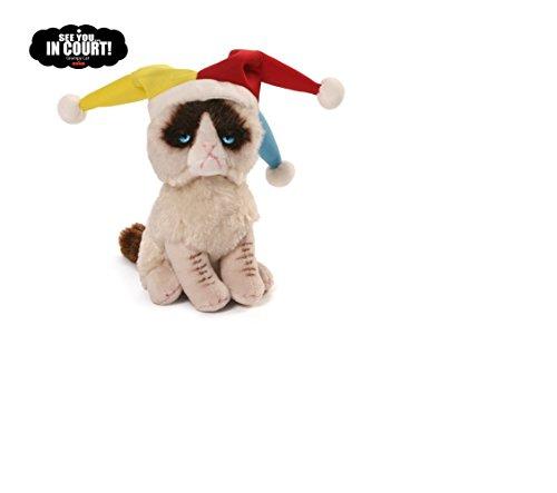 Grumpy Cat Jester Plush Stuffed Animal Toy with Sticker Book