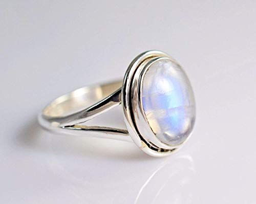 Rainbow Moonstone Silver Ring, Rainbow Moonstone, Moonstone Ring, 925 Sterling Silver, Silver Ring, Handmade Jewelry, Size 4-13 US