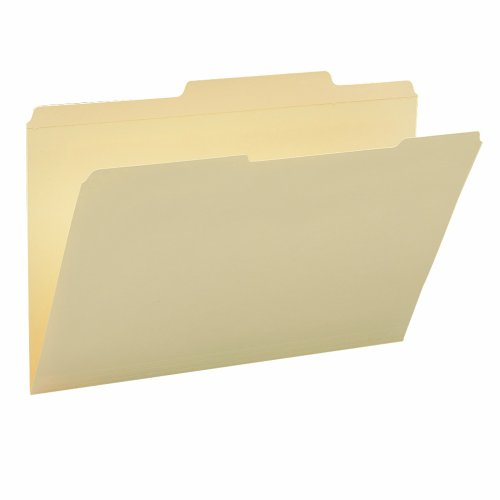 Smead 2/5-Cut Right of Center Position File Folder, Reinforced Tab, Legal Size, 11 Point, Manila, 100 Per Box (15376)