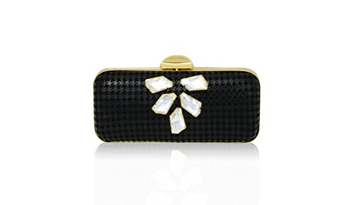 Inge Christopher Carrie Houndstooth Minaudere Evening Bag, Black, One Size by Inge Christopher