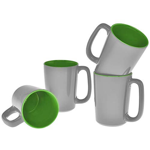 Culver SLAT Ceramic Mug, 16-Ounce, Grey Lime, Set of 4