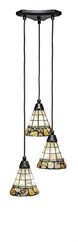 """Toltec Lighting 28-MB-9735 Europa 3 Multi-Light Mini Pendant with Cobblestone Glass, 7"""" Matte Black"""