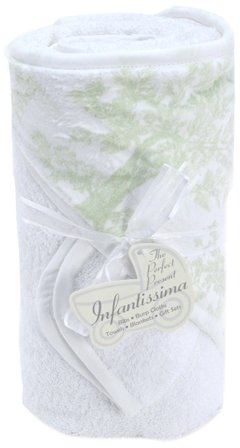 Green Toile Baby Accessories (Infantissima Toddler Hooded Towel, Minky Toile Green)