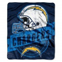 NFL Licensed Grand Stand Royal Plush Raschel Fleece Throw Blanket (San Diego Chargers)