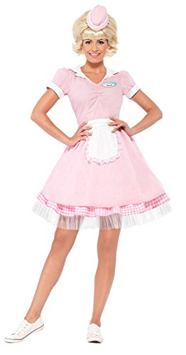 1950s Costumes- Poodle Skirts, Grease, Monroe, Pin Up, I Love Lucy 50s Diner Girl Costume  AT vintagedancer.com