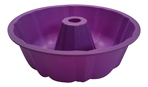 Bundt Cake Pan, Fluted, Full Size, 9.5 Inch Diameter 10 Cup, 100% Food Grade Premium Nonstick Silicone Bakeware by Happy Cook]()