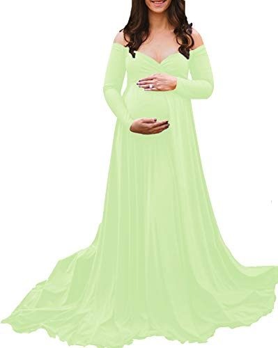 Saslax Maternity Off Shoulders Long Sleeve Half Circle Gown for Baby Shower Photo Props Dress Light Green XL