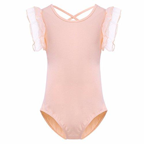 FEESHOW Kids Baby Girls' Ruffle Short Sleeve Gymnastics Leotard Bodysuit Princess Ballet Dance Dress Costumes Peach 4