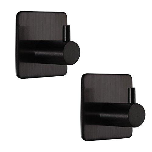 BQTime Modern 3M Self Adhesive Hooks Stainless Steel Towel Robe Coat Cloth Bag Key Holder Hanger(2 Pack Single Hook), Heavy Duty, Wall Mounted, Waterproof, Kitchen Bathroom Shower Accessories, (Single Wall Mounted Holder)
