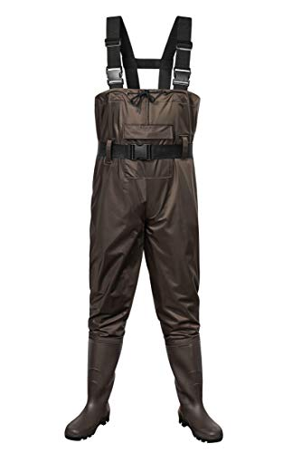 Outee Fishing Waders Bootfoot Chest Waders with Boots Waterproof Lightweight Hunting Wader for Men Women (Brown,Size 13/XX-Large)