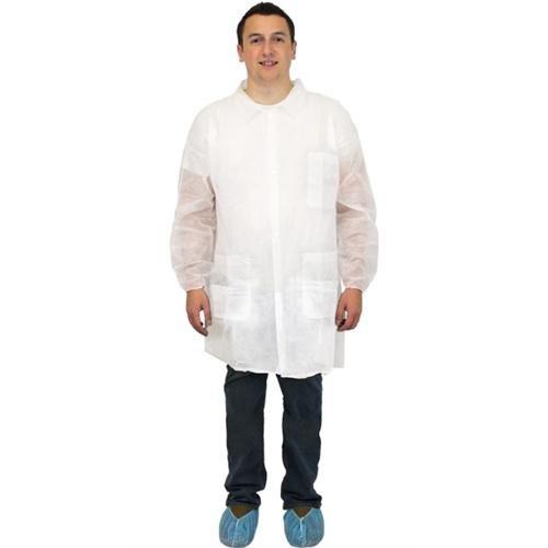 Safety Zone DLWH-LG-E-EW Economy Lab Coat, 3 Pockets, Elastic Wrist, L, Polypropylene, White (Pack of 30)