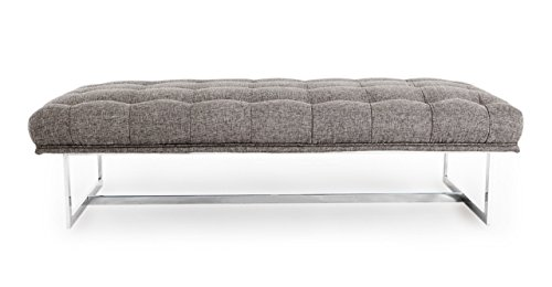 Cheap Kardiel Edward Mid-Century Modern Classic Ottoman/Bench, Deco Grey Vintage Tailored Twill, Stainless Steel