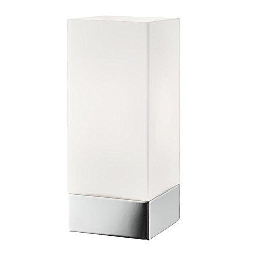 Square Dimmable Chrome And White Glass Touch Table Bedside Lamp