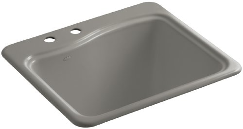 Kohler K-6657-2-K4 River Falls Self-Rimming Sink with Two-Hole Faucet Drilling, Cashmere