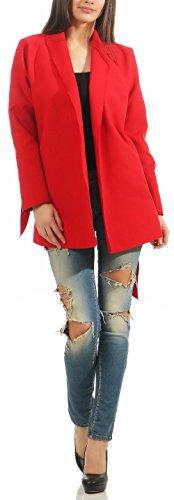 malito larga Capote Cascada de Corte Abrigo Cárdigan 3050 Mujer One Size Rojo 3051