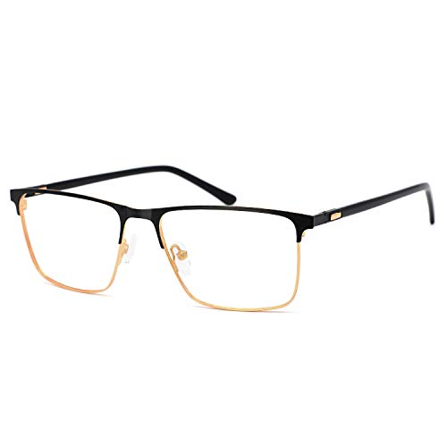 OCCI CHIARI Men Fashion Metal Full-Rim Optical Eyewear frames With Clear Lenses (B-Brown ()