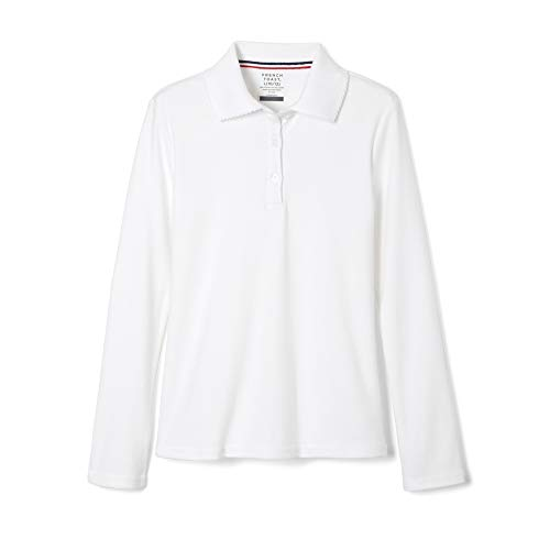 French Toast Little Girls Long Sleeve Picot Collar Interlock Polo, White,  Small/6/6x ()