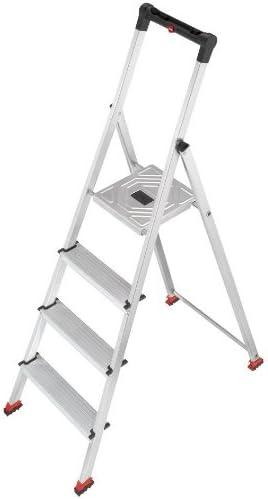 Hailo 8724-101 - Escalera de aluminio con sujeción de seguridad (4 escalones, diseñada para suelos delicados): Amazon.es: Bricolaje y herramientas