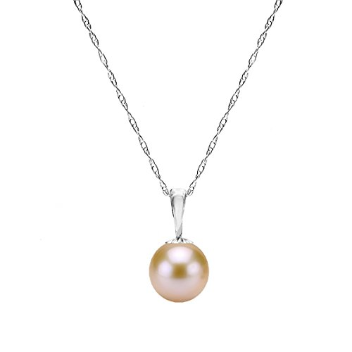 14K White Gold Chain Pink Freshwater Cultured Pearl Pendant Girls Necklace 18 inch by La Regis Jewelry
